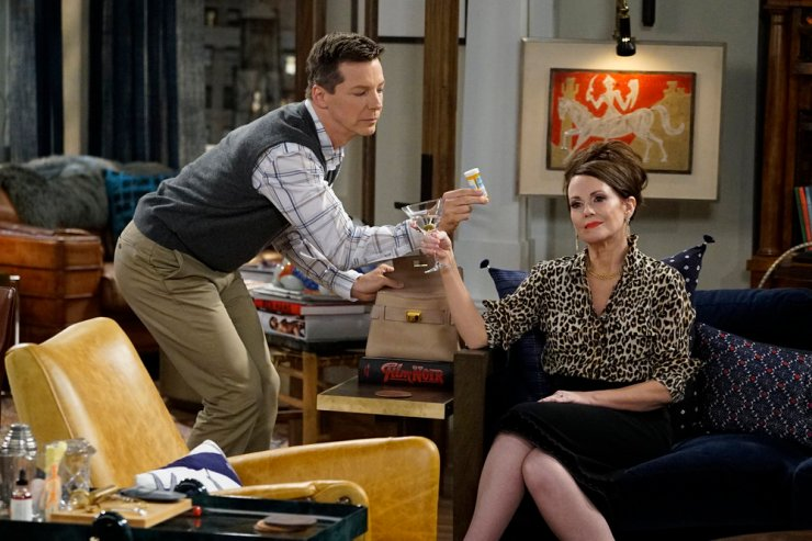 "WILL & GRACE -- ""11 Years Later"" Episode 101 -- Pictured: (l-r) Sean Hayes as Jack McFarland, Megan Mullally as Karen Walker -- (Photo by: Chris Haston/NBC)"