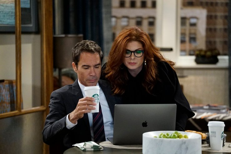 "WILL & GRACE -- ""11 Years Later"" Episode 101 -- Pictured: (l-r) Eric McCormack as Will Truman, Debra Messing as Grace Adler -- (Photo by: Chris Haston/NBC)"