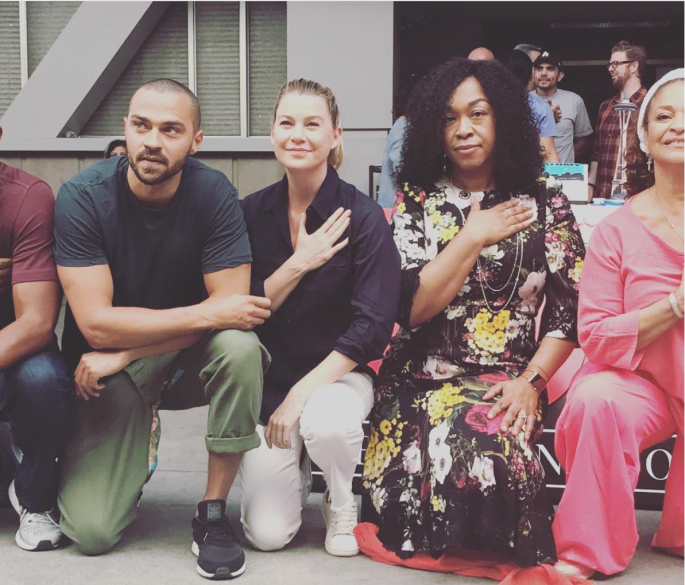 "Credit: Shonda Rhimes on instagram: ""...and we took a knee in solidarity of racial justice. #takeaknee #greysanatomy #300th"""