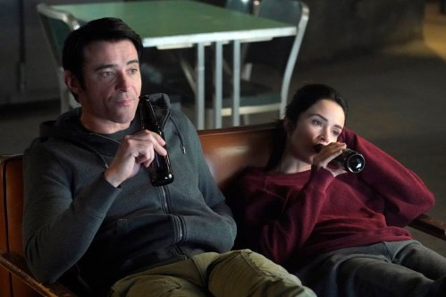 "TIMELESS -- ""The Kennedy Curse"" Episode 205 -- Pictured: (l-r) Goran Visnjic as Garcia Flynn, Abigail Spencer as Lucy Preston -- (Photo by: Paul Drinkwater/NBC)"