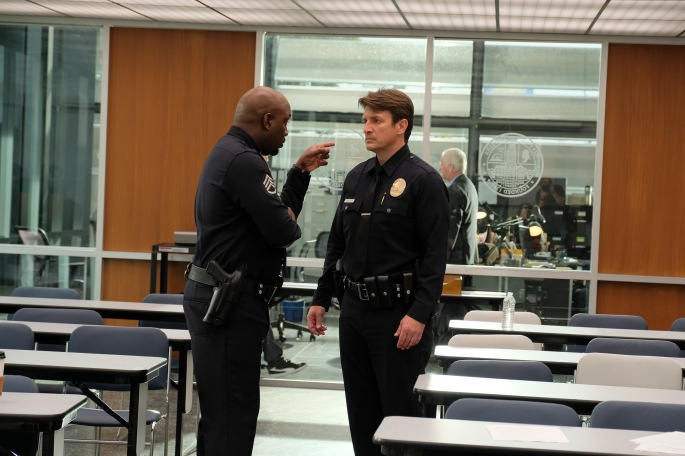 "THE ROOKIE – ""Pilot"" – Starting over isn't easy, especially for small-town guy John Nolan who, after a life-altering incident, is pursuing his dream of being a police officer, on the premiere episode of ""The Rookie,"" airing TUESDAY, OCT. 16 (10:00-11:00 p.m. EDT), on The ABC Television Network. (ABC/Tony Rivetti) RICHARD T. JONES, NATHAN FILLION"