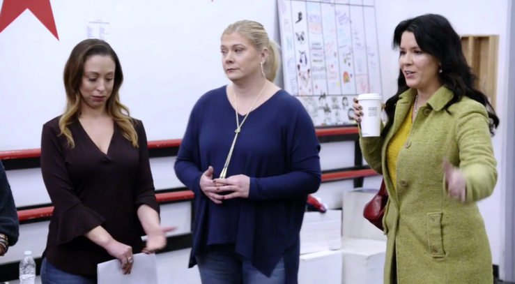 Dance Moms 8x07 Recap Yolanda Walmsley with a Starbucks cup on a DANCE STUDIO FLOOR